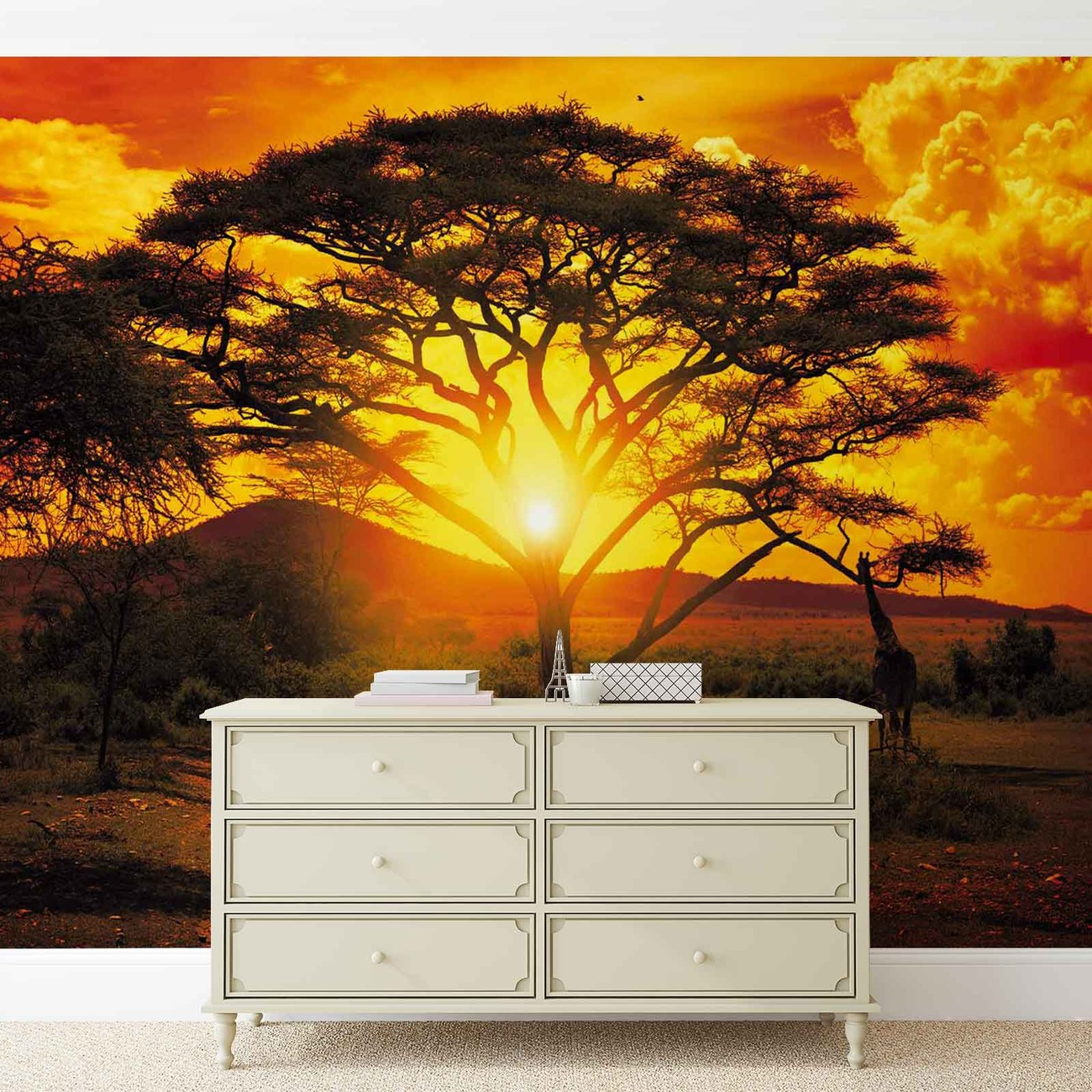 Sunset africa nature tree wall paper mural buy at for Mural nature