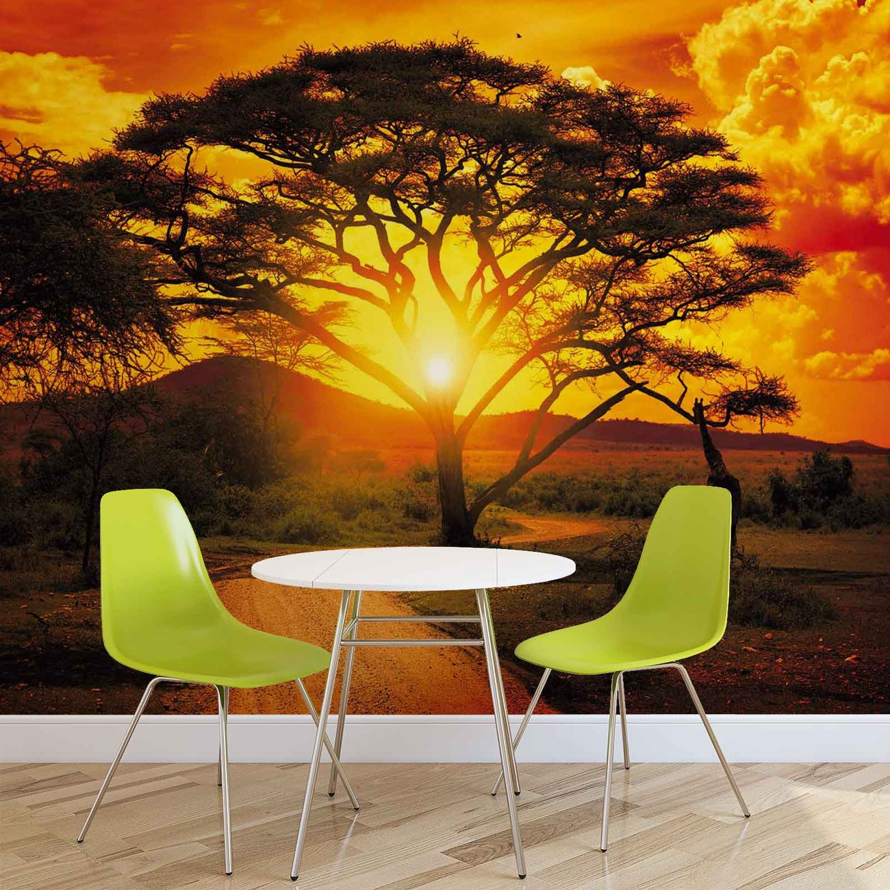 sunset africa nature tree wall paper mural buy at europosters. Black Bedroom Furniture Sets. Home Design Ideas