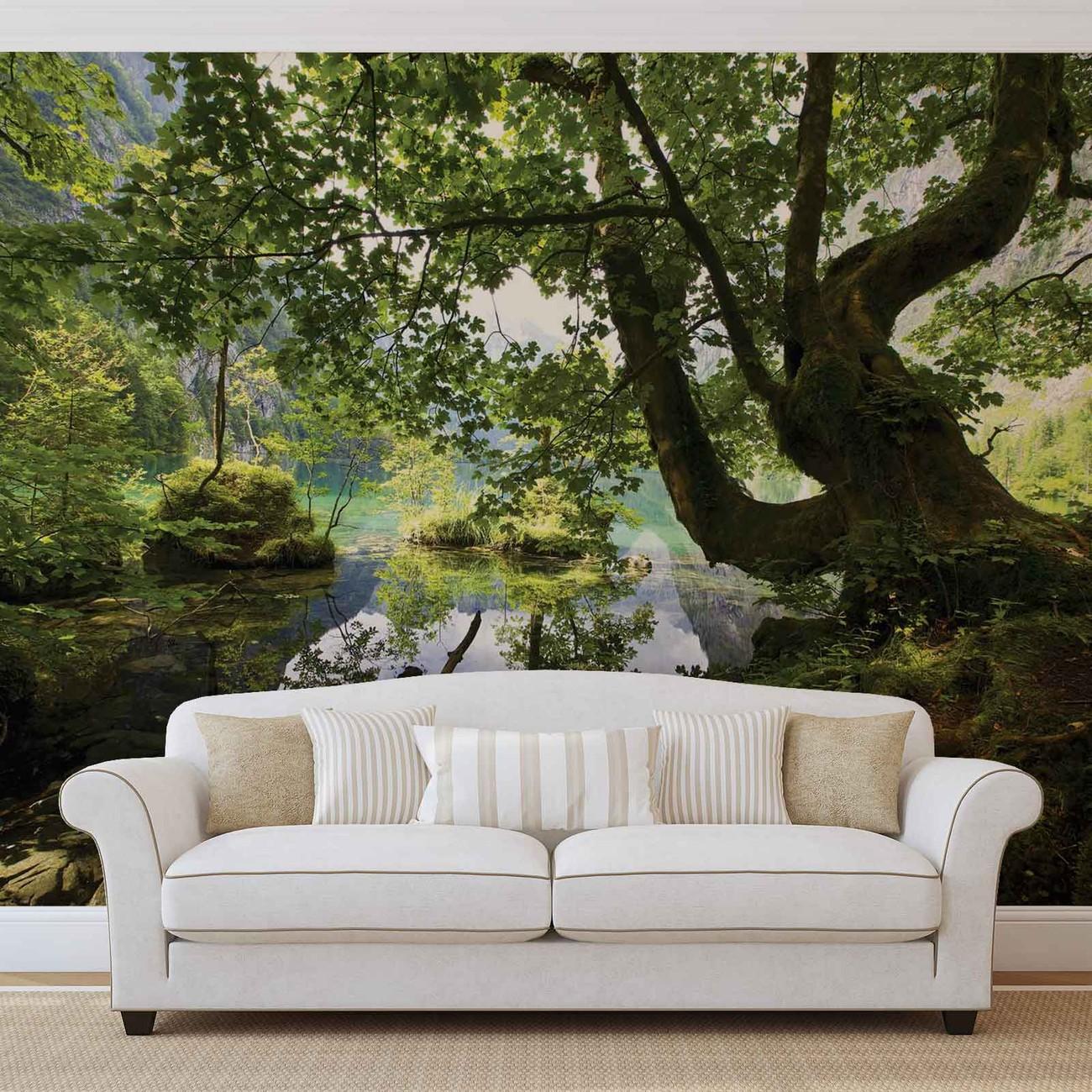 Tree Lake Nature Wall Paper Mural Buy At Abposters