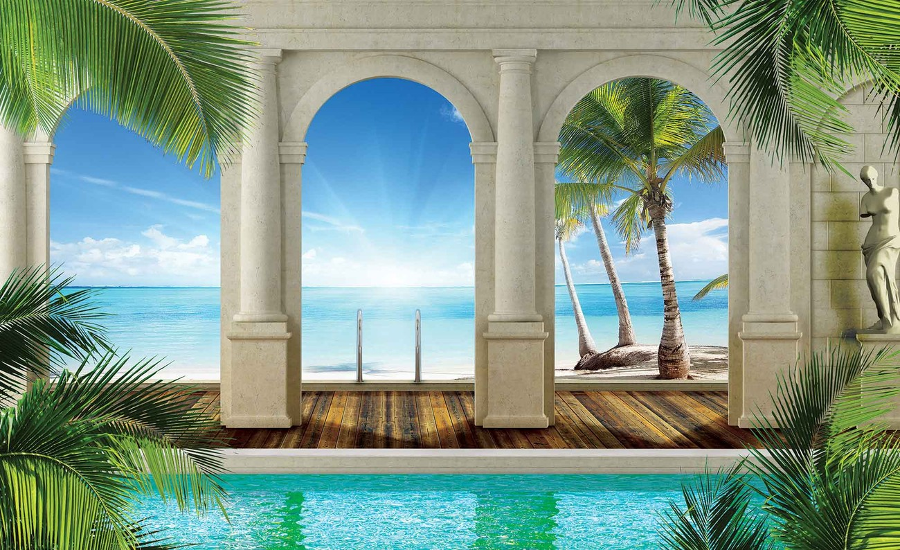 Tropical beach wall paper mural buy at europosters for Beach mural for wall