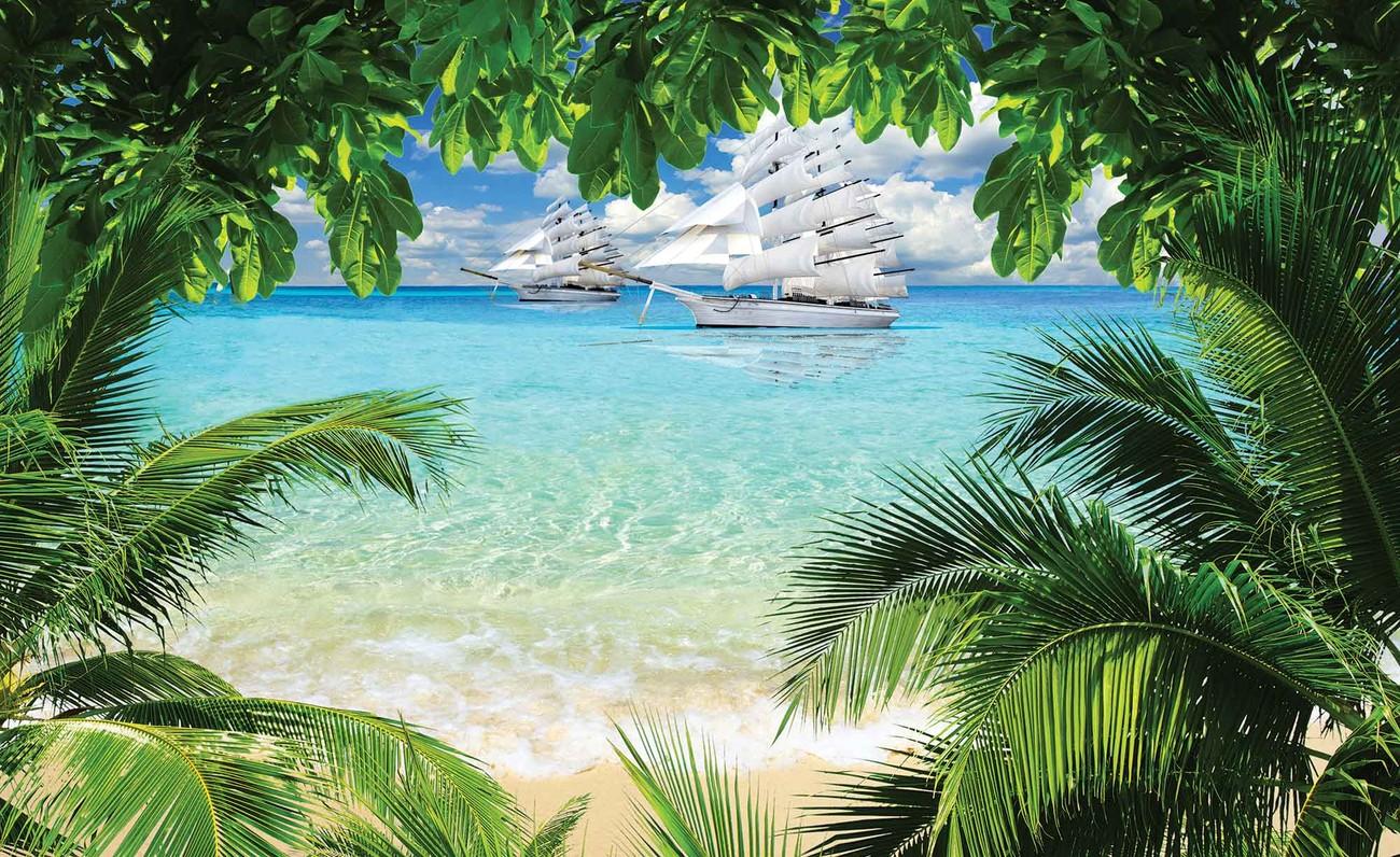 Tropical Beach Island Wall Paper Mural