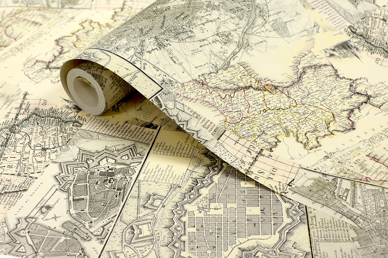 Vintage Maps Wall Mural   Buy at UKposters