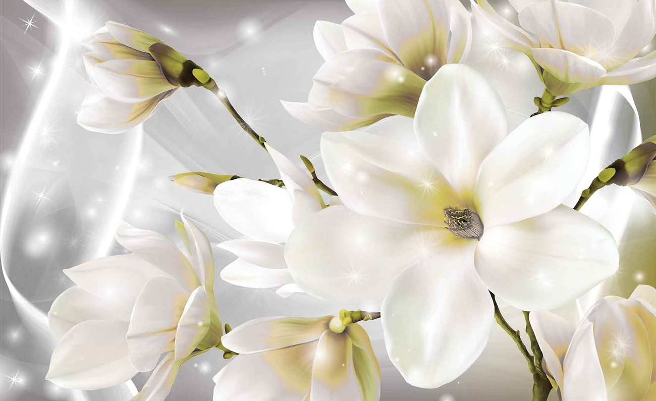 White flowers wall paper mural buy at europosters for Mural of flowers