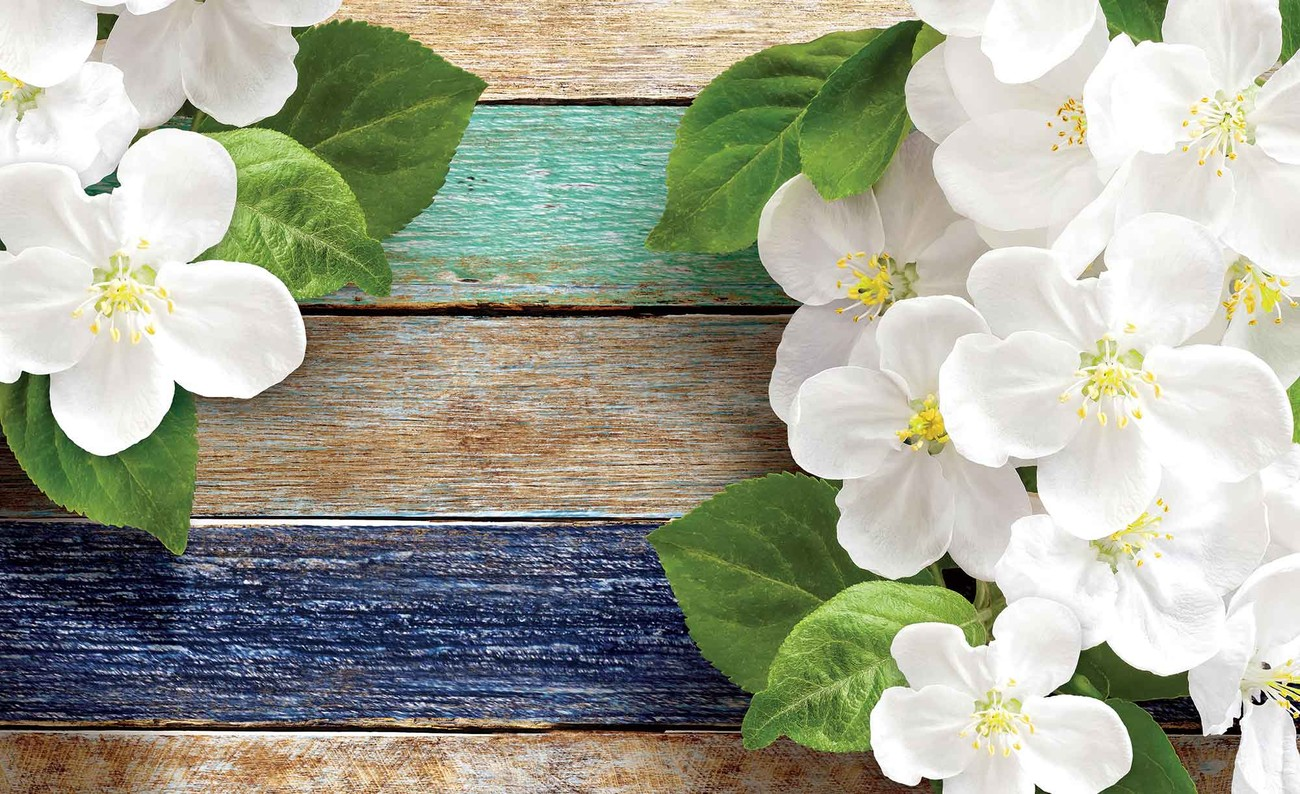 Wood fence flowers wall paper mural buy at europosters Mural of flowers