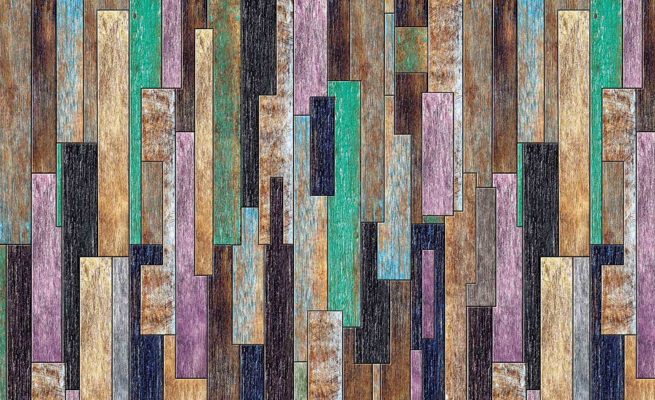Wood Planks Painted Rustic Wall Paper Mural Buy At