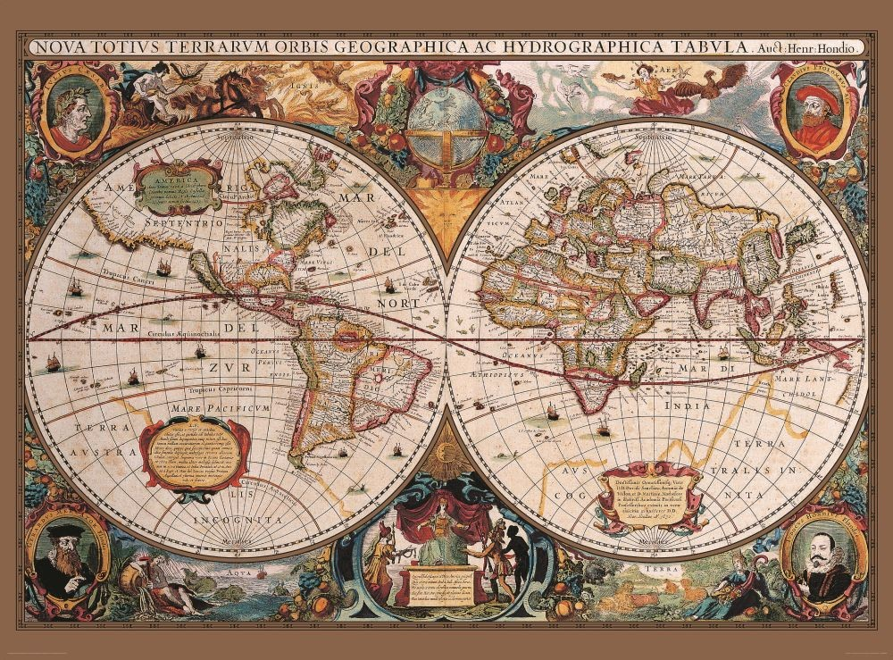 World map antique style wall mural buy at for Antique world map wall mural