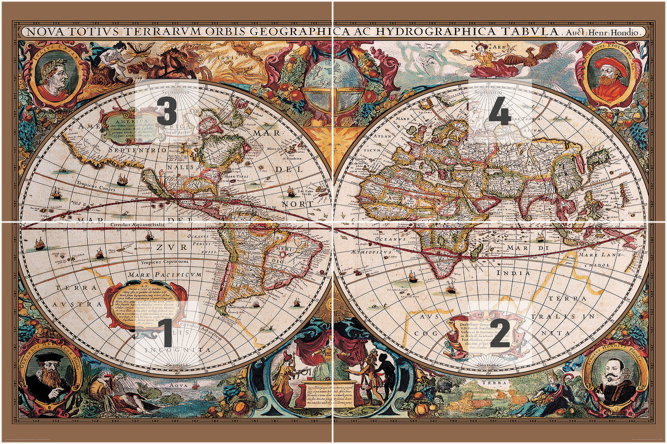 World Map Antique Style Wall Mural Buy At Europosters