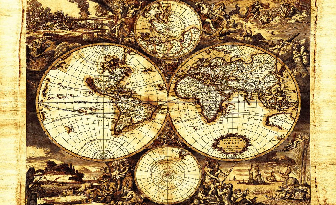 World map vintage wall paper mural buy at for Antique map mural