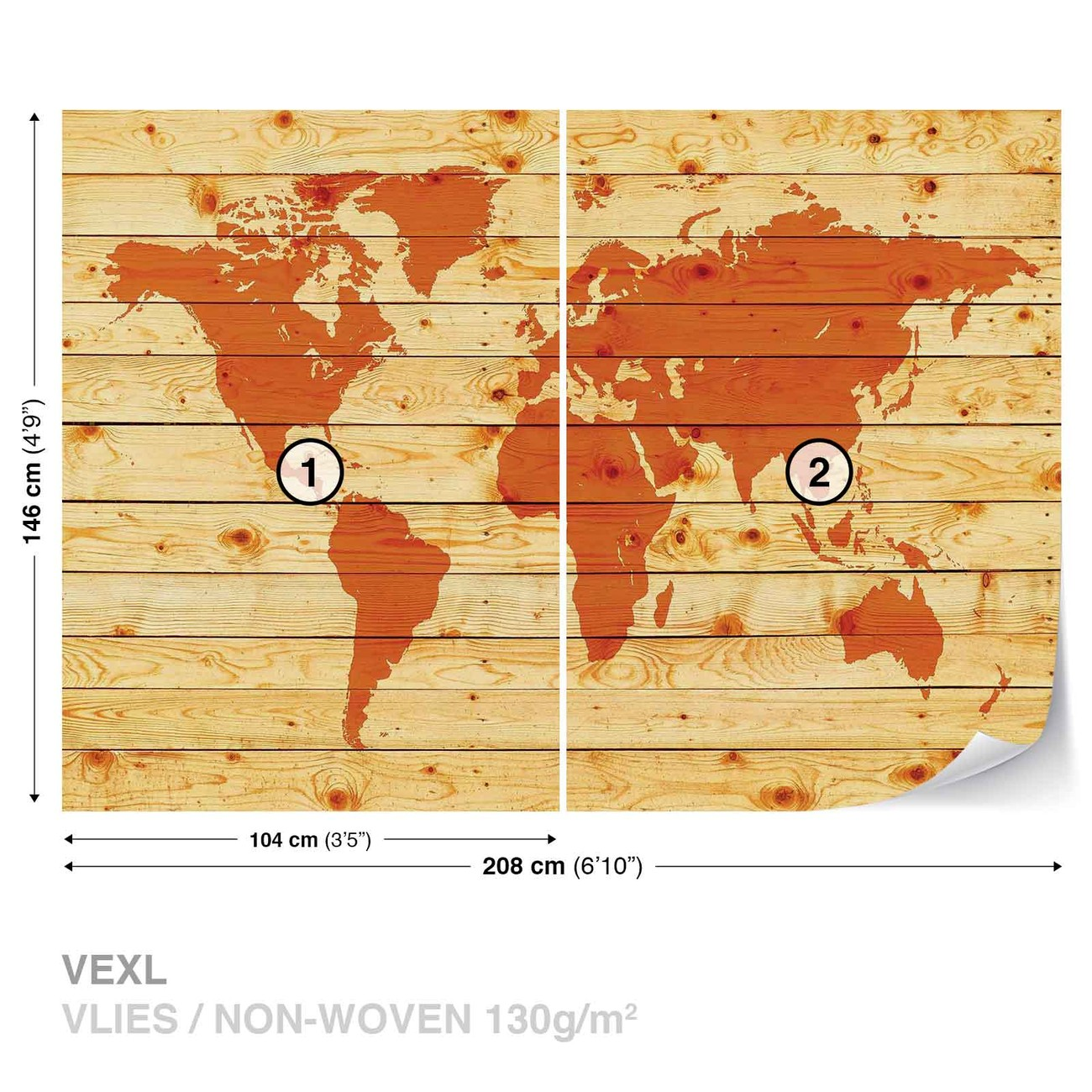 World Map Wood Planks Wall Paper Mural | Buy at EuroPosters