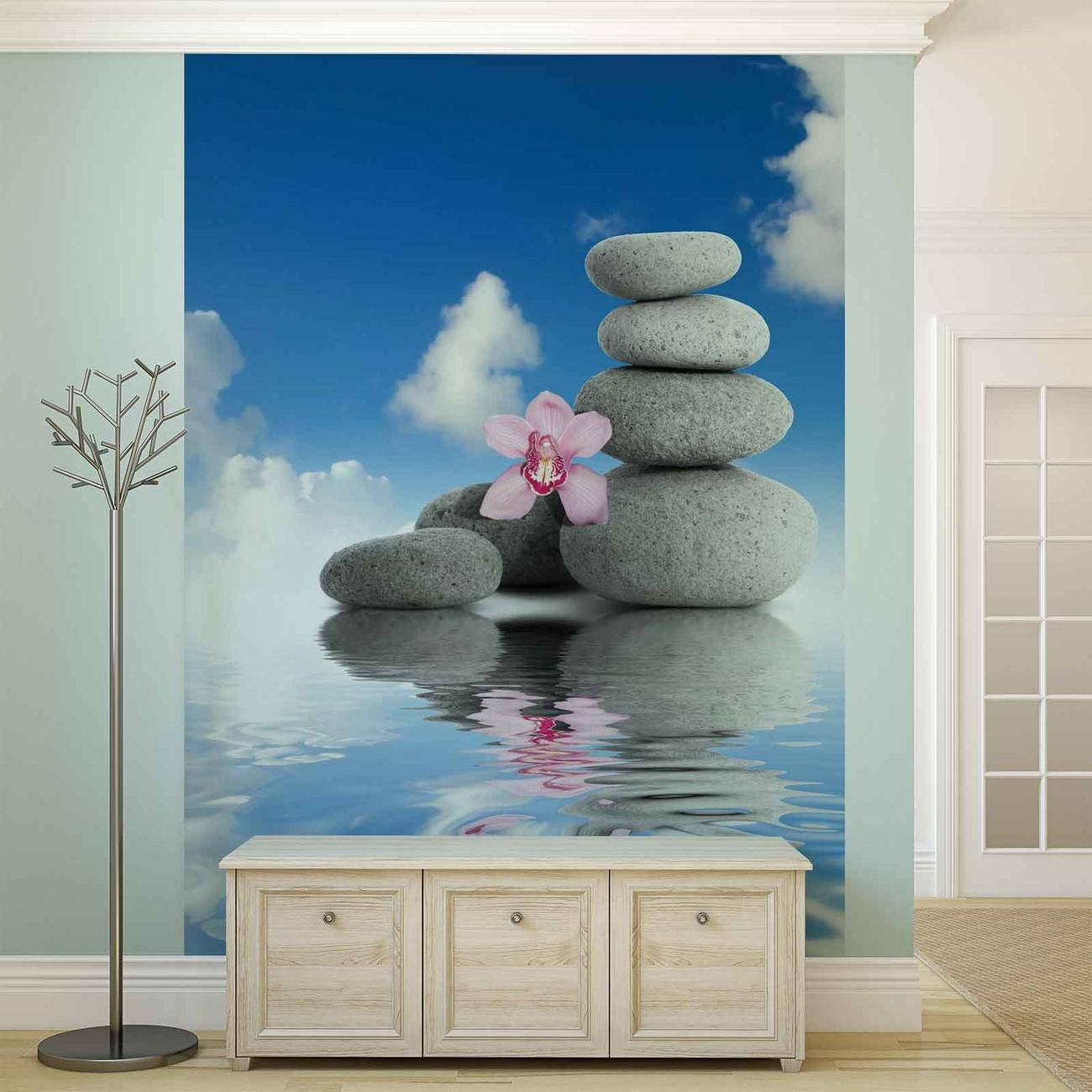 Zen Water Stones Orchid Sky Wall Paper Mural