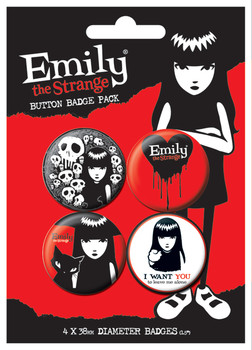 EMILY THE STRANGE 2 Badge Pack