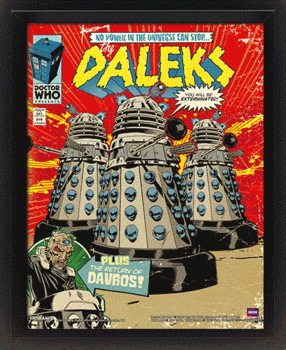 Doctor Who - Daleks Comic Cover 3D kehystetty juliste