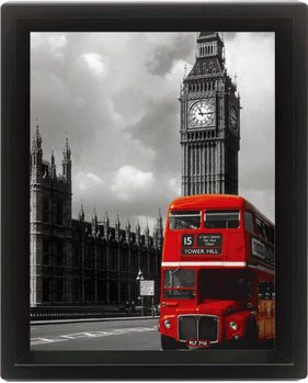 LONDON - red bus 3D kehystetty juliste