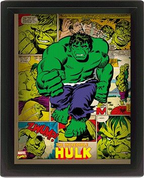 Marvel Retro - Hulk  3D kehystetty juliste