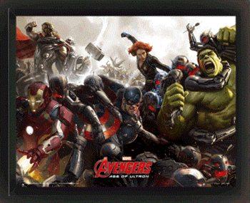 Avengers 2: L'Ère d'Ultron - Battle Poster en 3D encadré
