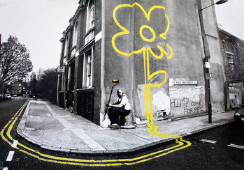 Banksy street art - yellow flower Affiche