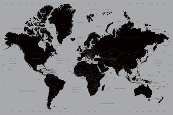 Carte du monde contemporain Poster