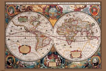 Carte du monde du 17ème siècle Affiche