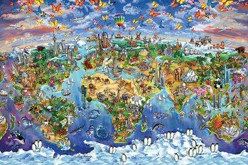 Carte du monde - Maria Rabinky Affiche