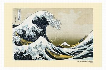 Katsushika Hokusai- a great wawe of kanagawa  Affiche
