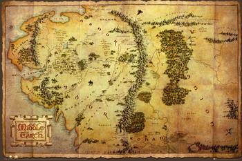 Le Hobbit - Carte de la Terre du Milieu Affiche