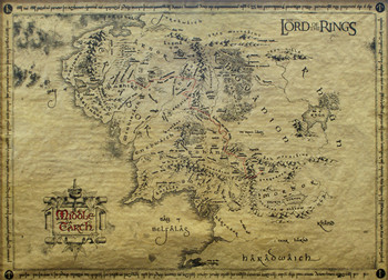 Le Seigneur des anneaux - Carte de la Terre du Milieu (special) Affiche