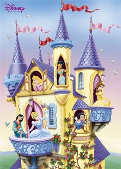 LES PRINCESSES DISNEY - castle Affiche