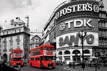 London red bus - piccadilly circus Affiche