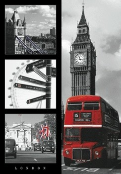 Londres - red bus Poster en 3D