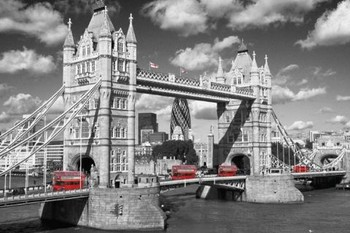 Londres - tower bridge buses Affiche