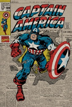 MARVEL - captain america retro Affiche