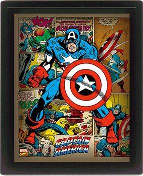 Marvel Retro - Captain America Poster en 3D encadré