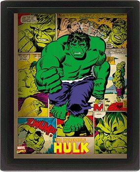 Marvel Retro - Hulk  Poster en 3D encadré