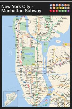 New York - Manhattan Subway Map Affiche