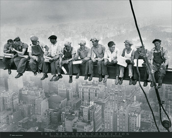 New York - men on girder Affiche