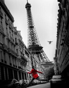 Paris - la veste rouge Affiche