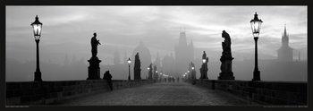 Prague – Charles bridge / lamp b&w Affiche