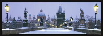 Prague – Charles bridge / snow Affiche