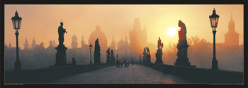 Prague – Charles bridge / sun Affiche