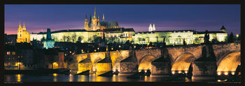 Prague – Prague castle & Charles bridge at night Affiche