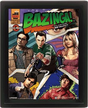 The Big Bang Theory - Comic Bazinga Poster en 3D encadré