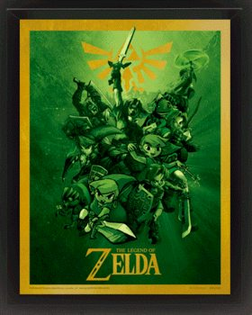 The Legend Of Zelda - Link Poster en 3D encadré
