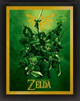 The Legend Of Zelda - Link Poster en 3D encadré
