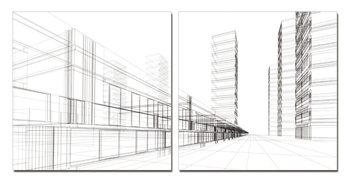 Architecture - City Tableau Multi-Toiles