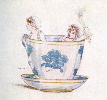 Taidejuliste 'A calm in a  tea-cup' by Kate Greenaway