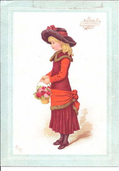 Taidejuliste A Victorian greeting card of a child dressed in regency clothes