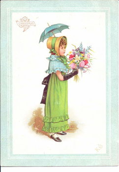 Taidejuliste A Victorian greeting card of children in fancy costume dancing
