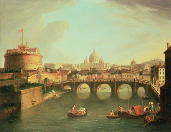 Reprodução do quadro A View of Rome with the Bridge and Castel St. Angelo by the Tiber