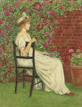 Fine Art Print A Young Girl Seated in a Chair, a Bowl of Cherries in her Hand,