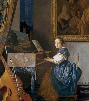 Reprodução do quadro A Young Lady Seated at a Virginal, c.1670
